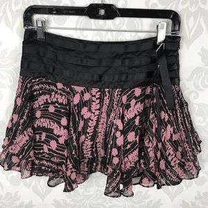 Bebe Black Floral Ruffled Belted Mini Skirt
